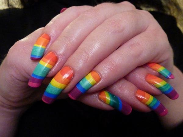 rainbow on nails47 50 creative nail designs