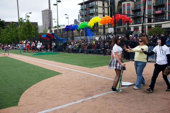 Softball - lesbians against transvestites. Seattle, WA.