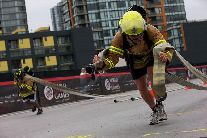 Competitions firefighters. Vancouver, Canada.