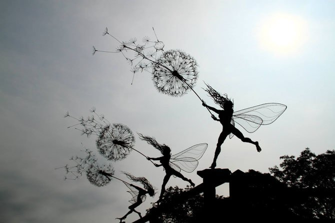 Dramatic Stainless Steel Wire Fairies by Robin Wight (5)