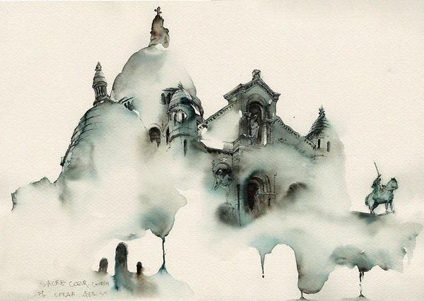 Ink Drawings of Famous European Cities (2)