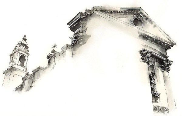 Ink Drawings of Famous European Cities (9)