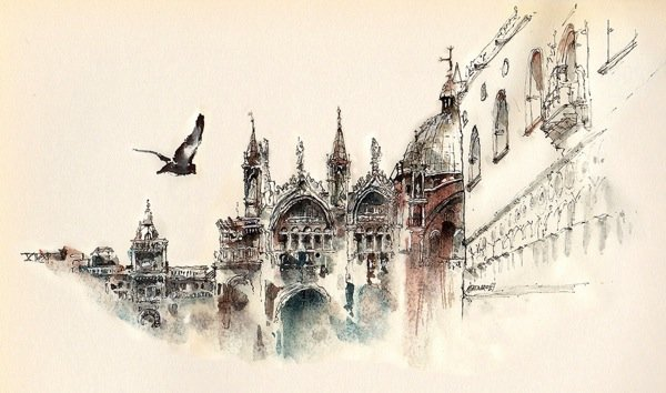 Ink Drawings of Famous European Cities (8)