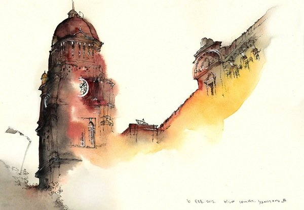 Ink Drawings of Famous European Cities (7)