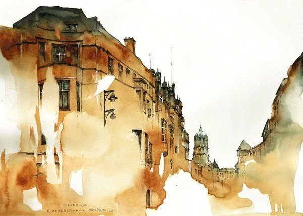 Ink Drawings of Famous European Cities (6)