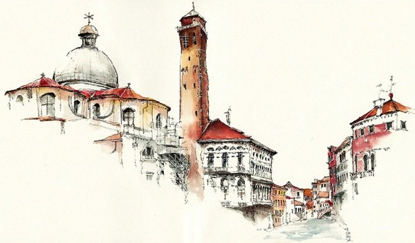 Ink Drawings of Famous European Cities (5)