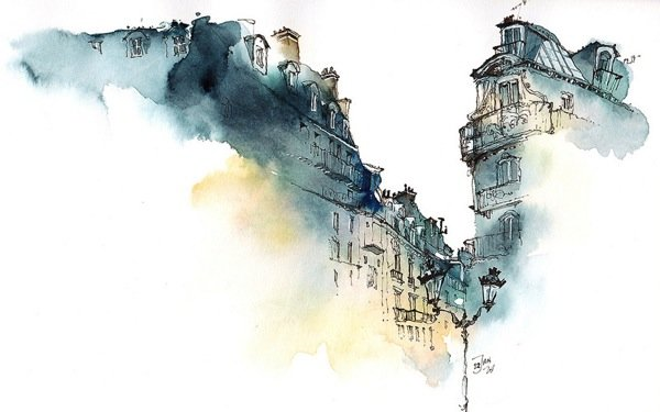 Ink Drawings of Famous European Cities (4)