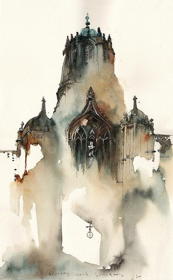 Ink Drawings of Famous European Cities (3)