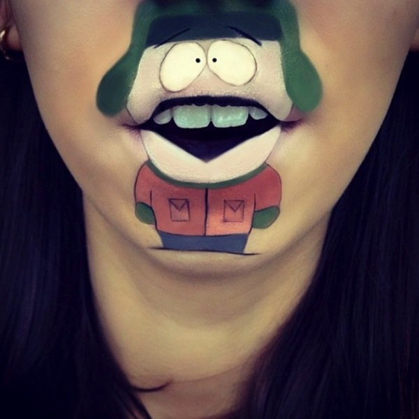 Funny makeup on her lips (8)