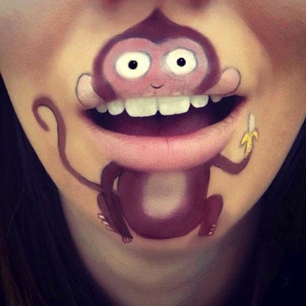Funny makeup on her lips (1)