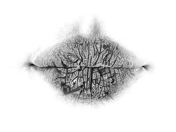 Surreal Pencil Drawings of Lips (2)